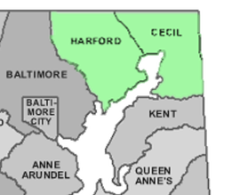 harford and cecil counties on map and highlighted